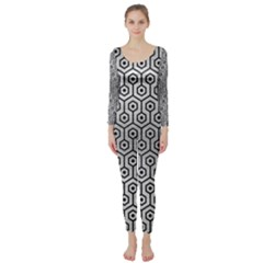 Hexagon1 Black Marble & Silver Brushed Metal (r) Long Sleeve Catsuit