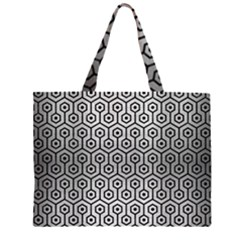 HXG1 BK MARBLE SILVER (R) Large Tote Bag