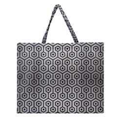 Hexagon1 Black Marble & Silver Brushed Metal (r) Zipper Large Tote Bag