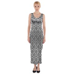 Hexagon1 Black Marble & Silver Brushed Metal (r) Fitted Maxi Dress