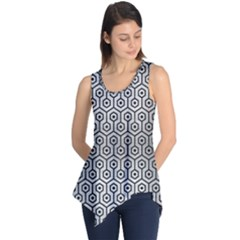 Hexagon1 Black Marble & Silver Brushed Metal (r) Sleeveless Tunic