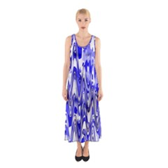 Funky Chevron Blue Full Print Maxi Dress