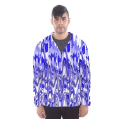 Funky Chevron Blue Hooded Wind Breaker (Men)