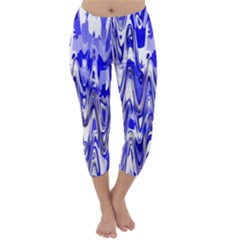Funky Chevron Blue Capri Winter Leggings