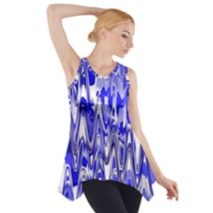 Funky Chevron Blue Side Drop Tank Tunic