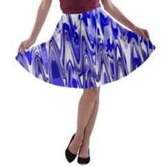 Funky Chevron Blue A-line Skater Skirt