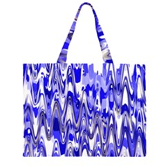 Funky Chevron Blue Large Tote Bag