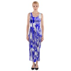 Funky Chevron Blue Fitted Maxi Dress