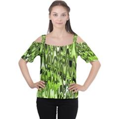 Funky Chevron Green Women s Cutout Shoulder Tee
