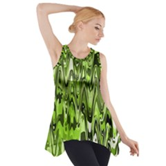 Funky Chevron Green Side Drop Tank Tunic