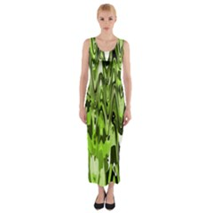 Funky Chevron Green Fitted Maxi Dress