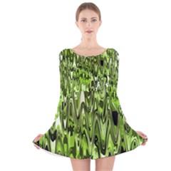 Funky Chevron Green Long Sleeve Velvet Skater Dress