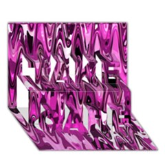 Funky Chevron Hot Pink Take Care 3d Greeting Card (7x5)