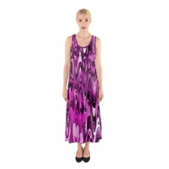 Funky Chevron Hot Pink Full Print Maxi Dress