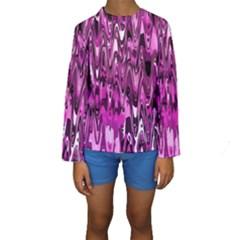 Funky Chevron Hot Pink Kid s Long Sleeve Swimwear