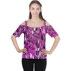 Funky Chevron Hot Pink Women s Cutout Shoulder Tee