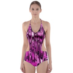 Funky Chevron Hot Pink Cut Out One Piece Swimsuit
