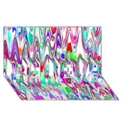 Funky Chevron Multicolor Believe 3d Greeting Card (8x4)