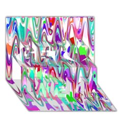 Funky Chevron Multicolor Get Well 3d Greeting Card (7x5)