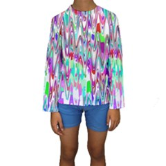 Funky Chevron Multicolor Kid s Long Sleeve Swimwear