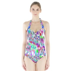 Funky Chevron Multicolor Women s Halter One Piece Swimsuit