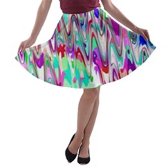 Funky Chevron Multicolor A-line Skater Skirt