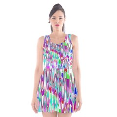 Funky Chevron Multicolor Scoop Neck Skater Dress