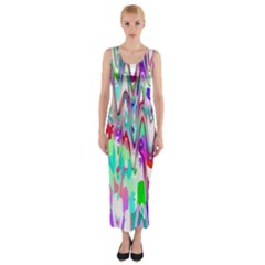 Funky Chevron Multicolor Fitted Maxi Dress