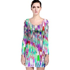 Funky Chevron Multicolor Long Sleeve Velvet Bodycon Dress