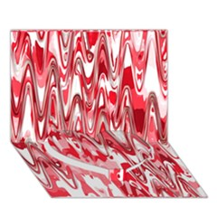 Funky Chevron Red Heart Bottom 3d Greeting Card (7x5)