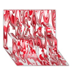 Funky Chevron Red Take Care 3d Greeting Card (7x5)