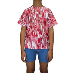 Funky Chevron Red Kid s Short Sleeve Swimwear