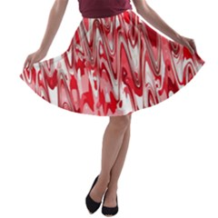 Funky Chevron Red A-line Skater Skirt