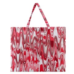 Funky Chevron Red Zipper Large Tote Bag