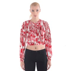 Funky Chevron Red Women s Cropped Sweatshirt