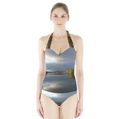 View   On The Lake Women s Halter One Piece Swimsuit