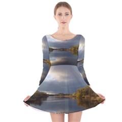 View On The Lake Long Sleeve Velvet Skater Dress
