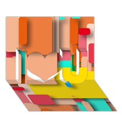 Rounded Rectangles I Love You 3d Greeting Card (7x5)