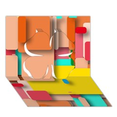 Rounded Rectangles Clover 3d Greeting Card (7x5)