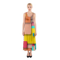 Rounded Rectangles Full Print Maxi Dress
