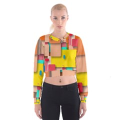 Rounded Rectangles Women s Cropped Sweatshirt