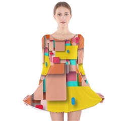 Rounded Rectangles Long Sleeve Velvet Skater Dress