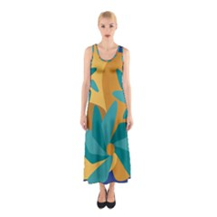 Urban Garden Abstract Flowers Blue Teal Carrot Orange Brown Full Print Maxi Dress
