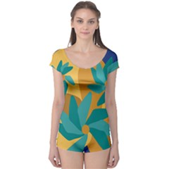 Urban Garden Abstract Flowers Blue Teal Carrot Orange Brown Boyleg Leotard (ladies)