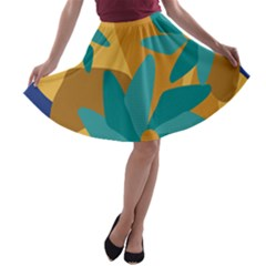 Urban Garden Abstract Flowers Blue Teal Carrot Orange Brown A-line Skater Skirt