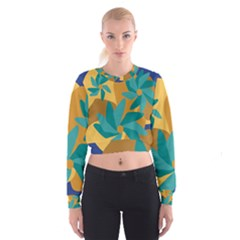 Urban Garden Abstract Flowers Blue Teal Carrot Orange Brown Women s Cropped Sweatshirt