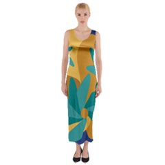 Urban Garden Abstract Flowers Blue Teal Carrot Orange Brown Fitted Maxi Dress