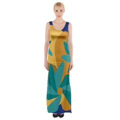 Urban Garden Abstract Flowers Blue Teal Carrot Orange Brown Maxi Thigh Split Dress