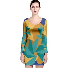 Urban Garden Abstract Flowers Blue Teal Carrot Orange Brown Long Sleeve Velvet Bodycon Dress