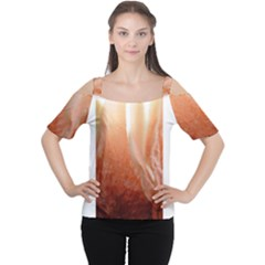 Floating Peach Women s Cutout Shoulder Tee